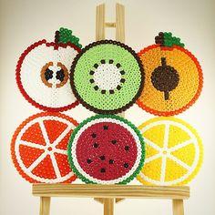 Fruit coasters hama beads by la_tienda_de_logan