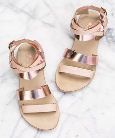 Rose Gold Harper Leather Sandal #zulilyfinds