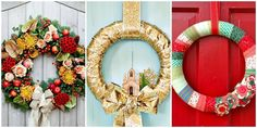 55 DIY Christmas Wreaths - How to Make a Holiday Wreath Craft Christmas Wreath Image, Diy Christmas Garland, Holiday Wreaths, Handmade Christmas, Holiday Crafts, Christmas Holidays, Christmas Decorations, Winter Wreaths, Gold Christmas