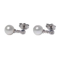 Pearl Drop Earrings - 2 pt Diamond Stud & Cultured Pearl - on 9ct White Gold