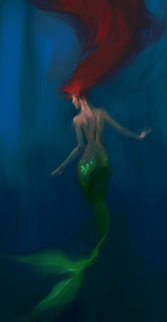 Disney Princess Princess. Fan art. creative. diva. beautiful. Ariel. Mermaid. Redhair