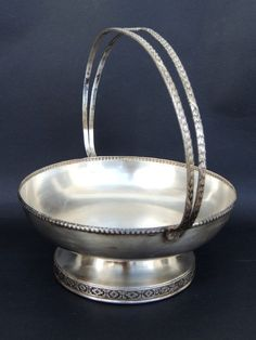 Vintage Art Craft Antique Etched Solid Silver Plated Huge Unique Candy Dish Fine