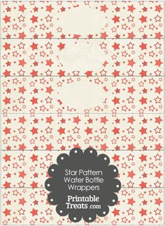 Vintage Red Star Pattern Water Bottle Wrappers from PrintableTreats.com