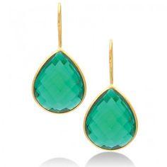 bezel-set gemstone teardrop earring