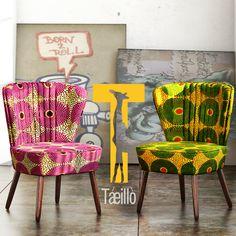 Ankara chairs, African furniture Bold home furniture Ethnic Home Decor, African Home Decor, Funky Chairs, Cool Chairs, Chair Fabric, Fabric Decor, African Theme, African Style, African Furniture