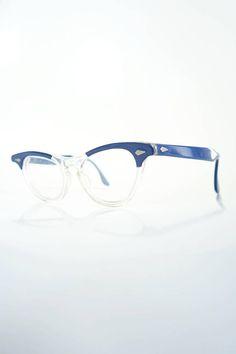 29e97405b391c Vintage 1950s Tart Cat Eye Leading Liz Glasses Blue Clear Transparent  Cateye Eyeglasses 50s Mid Century Modern Arnel Johnny Depp