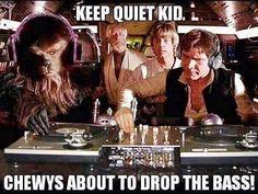 Chewies bout to drop data bass! Quiet kid! #starwars #chewbacca #hansolo #lukeskywalker #obiwankenobi #episodeiv #milleniumfalcon
