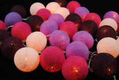 Purple Night 35 mixed 4 Color Cotton Ball String by zecotton, $16.50