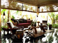 Traditonal Balinese decor in the lobby - lounge    www.purehouseibiza.com loves it