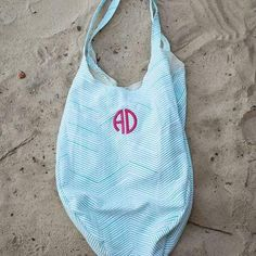 8227cf04adc5 Monogrammed Hold Everything Hobo Beach Bag in Blue