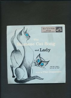 now in my #etsy shop: record Siamese Cat Song b /w Lady from Lady and the Tramp picture sleeve http://etsy.me/2CTvvUB #music #blue #black #vintage #epsteam #felines #siamesecatsong #ladysong #thecoquettes