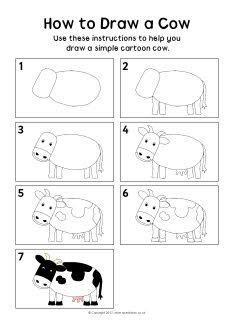 Schepping dag 6 dieren tekenen // Day How to draw a cow instruction sheet - SparkleBox Cow Drawing, Drawing For Kids, Art For Kids, Bird Drawings, Easy Drawings, Animal Drawings, Drawing Projects, Drawing Lessons, Directed Drawing
