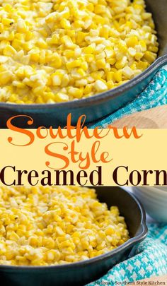 Sweet Southern Style Creamed Corn is made with real butter and cream transforming it into a decadent side dish that you can enjoy any day of the week. Fried Corn Recipes, Canned Corn Recipes, Sweet Corn Recipes, Vegetable Recipes, Corn Dishes, Vegetable Dishes, Creamed Corn Recipe Easy, Slow Cooker Creamed Corn, Sweet Cream Corn