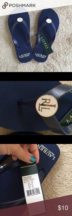 Ralph Lauren navy blue flip flops Brand new with tags! Ralph Lauren navy blue flip flops. Size 6. Ralph Lauren Shoes Sandals