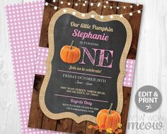 Pink Pumpkin Birthday Invite Turning One 1st Girl's Twins INSTANT DOWNLOAD Our Little First Invitation Fall Wood Party Printable Editable