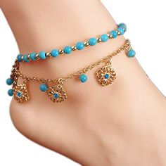 BeOne2015 New Unique Bohemia Two Piece Flower Charm Tassel Chain Turquoise Beads Sandal Anklet by BeOne -- Awesome products selected by Anna Churchill