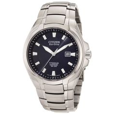 - Citizen Men's Eco-drive Titanium Watch - This men's eco-drive watch from Citizen features a titanium case with a matching titanium bracelet. The blue patterned dial sets the stage for steel luminescent hands and hourly markers for easy time-telling.  http://www.overstock.com/Jewelry-Watches/Citizen-Mens-Eco-drive-Titanium-Watch/6682859/product.html?CID=214117 $262.50
