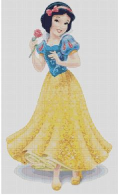 Snow White: The princess of Disney Princess franchise. The other charts in Disney Princess line: Cinderella Aurora Ariel Belle Jasmine Pocahontas Mulan Tiana Rapunzel Mérida I do this as a supp. Disney Cross Stitch Patterns, Counted Cross Stitch Patterns, Cross Stitch Designs, Cross Stitch Embroidery, Disney Quilt, Graph Crochet, Disney Princess Snow White, Stitch Cartoon, Princesa Disney