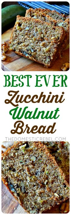 This is the BEST recipe for Zucchini Bread EVER! Studded with buttery walnuts, t… This is the BEST recipe for Zucchini Bread EVER! Studded with buttery walnuts, this perfectly spiced, moist & tender zucchini bread is packed with flavor and is SO EASY! Zucchini Bread Recipes, Banana Bread Recipes, Best Zuchinni Bread Recipe, Moist Zucchini Bread, Dessert Bread, Dessert Recipes, Desserts, Moist Banana Bread, Good Food
