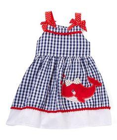 Nannette Girl Blue Whale Gingham A-Line Dress - Infant, Toddler & Girls | zulily