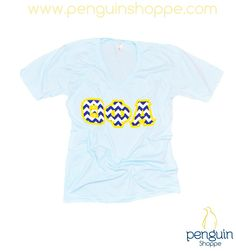 Theta Phi Alpha Custom Sorority Chapter order on blue and white chevron letters with yellow backing!! Adorable and perfect for any chapter event! Custom@PenguinShoppe.com