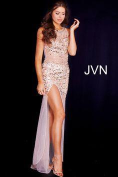 Gold Embellished Sheer Prom Dress