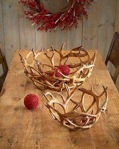 K&K Interiors Inc. Faux-Antler Bowls, Set - rustic home decor shelves - Deer Antler Crafts, Antler Art, Antler Wreath, Rustic Lodge Decor, Rustic Cottage, Rustic Wood, Deer Decor, Antler Decorations, Decorating With Deer Antlers