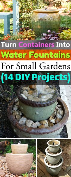 If you love the sound of water and want to get an inexpensive water feature for your home or garden, try one of these DIY Container Water Fountain I garden fountain 14 DIY Container Water Fountain Ideas That Are Easy And Cheap Patio Water Fountain, Garden Fountains Outdoor, Diy Fountain, Indoor Water Fountains, Wall Fountains, Garden Ponds, Koi Ponds, Tabletop Fountain, Outdoor Landscaping