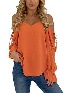 3847ac634e200 Azokoe Womens Fashion Spaghetti Strap Cold Shoulder Long Sleeve Top Blouses(6  Colors) at Amazon Women's Clothing store: