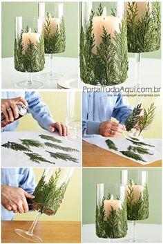 decoração-criativa-baratinha-simples-para-Natal-enfeite-pinheiros-taça-velas