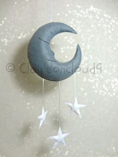 MR SLEEPY MOON and Stars Mobile - Hanging Mobile Baby Nursery Kids Bedroom Home Decoration