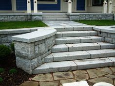 Outdoor stairs & treads - Masonry Masterpieces by New Castle Stoneworks Outdoor Stairs, Outdoor Railings, English Country Gardens, Stair Treads, Newcastle, Home Interior Design, Stepping Stones, Sidewalk, Yard