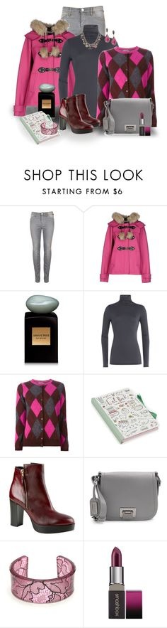 Black Friday Shopping Outfit by franceseattle ❤ liked on Polyvore featuring Juicy Couture, Giorgio Armani, Velvet, Moncler, Carvela Kurt Geiger, Badgley Mischka, Smashbox and Chanel