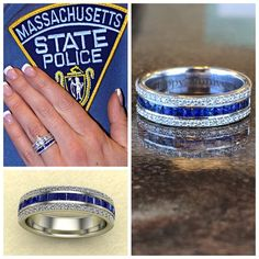 "A ring with meaning- the ""Thin Blue Line"" is significant to those in law enforcement and their relationship with the community. Thank you for your service, and Happy Anniversary! Police Officer Wife, Cop Wife, Police Wife Life, Police Family, Police Officer Crafts, Thin Blue Lines, Thin Blue Line Ring, Thin Blue Line Jewelry, Police Wedding"