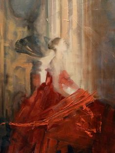 """Saatchi Art Artist: Fanny Nushka Moreaux; oil Painting """"Late Orange, after a photo by Harley Weir"""