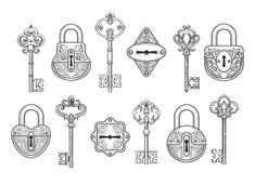 Vintage key, keyhole and lock set by vectortatu on @creativemarket