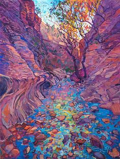 Colorful autumn landscape oil painting of Emerald Pools in Zion National Park by. - Colorful autumn landscape oil painting of Emerald Pools in Zion National Park by contemporary impre - Landscape Illustration, Landscape Art, Landscape Paintings, Oil Paintings, Contemporary Landscape, Contemporary Design, Watercolor Paintings, Erin Hanson, Impressionist Artists