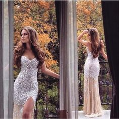 Sweetheart Neck Mermaid Prom Dresses 2016 Style Champagne Tulle with Beaded