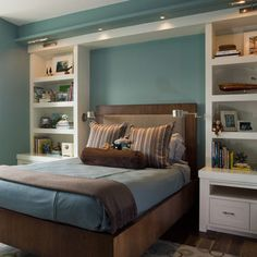 These are the colors in the master bedroom right now. This type of shelfing and lights would be a wonderful idea for the master bedroom.