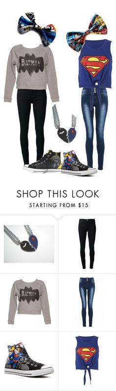 """""""BATMAN AND SUPERMAN WITH BFFS"""" by admirelovesniall ❤ liked on Polyvore featuring BLK DNM, Junk Food Clothing, Quiz and Converse"""