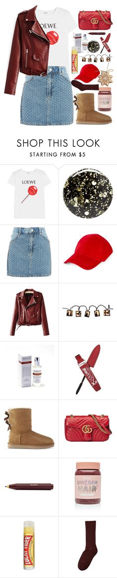 """Cool-Girl Style: Leather Jackets"" by annasokolove ❤ liked on Polyvore featuring Loewe, Nails Inc., Topshop, Ivy Park, Demeter Fragrance Library, Rimmel, UGG, Gucci, Lime Crime and Lucky Tiger"
