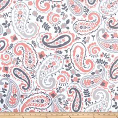 Minky Kashmir Paisley Grey/Coral from @fabricdotcom  This minky fabric has a soft 2mm pile that's perfect for baby accessories, quilt backings, blankets, throws, pillows and stuffed animals. Colors include white, grey and coral.