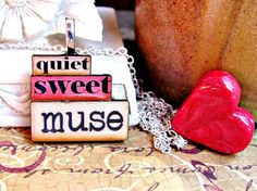 Message Pendants. quiet  sweet  muse by RebeccasWhims on Etsy, $15.00