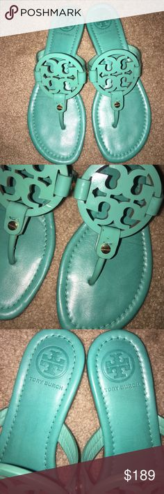 Tory Burch Island Turquoise Blue Miller Sandals 7 Tory Burch Millers in a size 7 M. Island Turquoise color. Rare! 100% Authentic. In very excellent condition! Like new. Only minor minor knick on Toe. Tory Burch Shoes Sandals