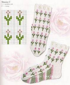 Blooming Lavender socks pattern by Stone Knits - Baby Sweater Knitting Pattern, Mittens Pattern, Knitting Charts, Knit Mittens, Knitting Socks, Baby Knitting, Mosaic Patterns, Crochet Patterns, Motifs Roses