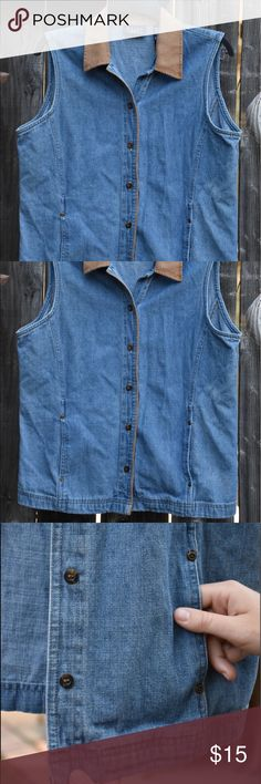 Crazy Horse Denim Vest Lightly worn Denim Vest! In great condition, fabric is soft. Comes with pockets, buttons all the way up the front, and leather collar! CRaZY Horse Jackets & Coats Jean Jackets