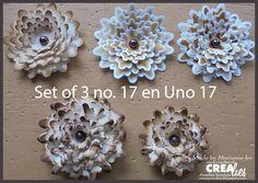 Tutorial op ons Crealies blog met 8 verschillende bloemen: http://www.crealies.blogspot.nl/2015/10/tutorial-bloemen.html & https://www.crealies.nl/n1/26986/2015-Tutorials-Tips.htm