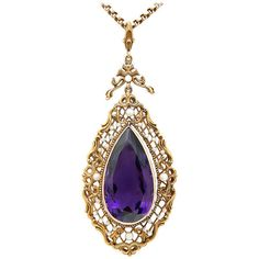 Pre-owned Large Amethyst, Natural Pearl & 18K Victorian Necklace ($7,000) ❤ liked on Polyvore featuring jewelry, necklaces, drop necklaces, pendants & necklaces, chain necklace, pearl drop necklace, victorian pendant and amethyst stone necklace