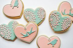 Cute but no birds. Tiffany Blue and Baby Pink Wedding Cookies