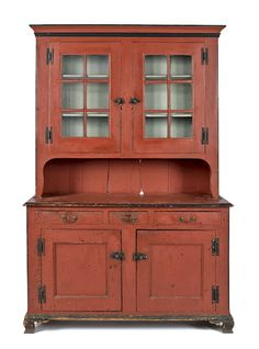 kitchen- Pennsylvania painted pine Dutch cupboard, ca. retaining a later salmon decorated surface, h. Primitive Furniture, Decor, Country Furniture, Painted Cupboards, Rustic Furniture, Painted Furniture, Furniture, Shaker Furniture, Cupboard
